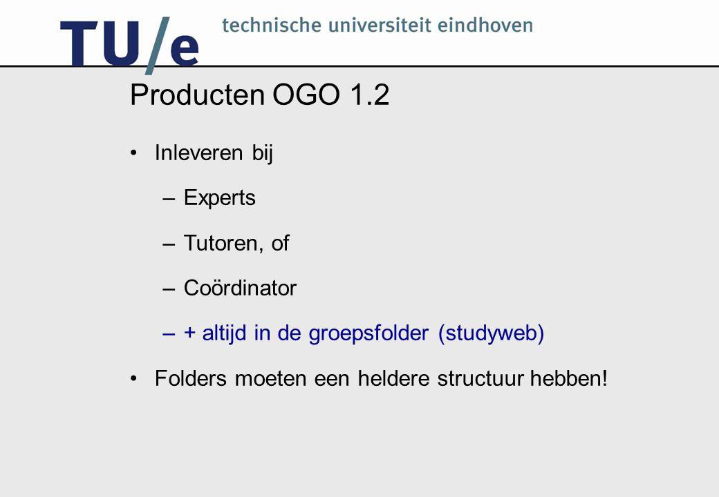 Producten OGO 1.2 Inleveren bij –Experts –Tutoren, of –Coördinator –+ altijd in de groepsfolder (studyweb) Folders moeten een heldere structuur hebben!