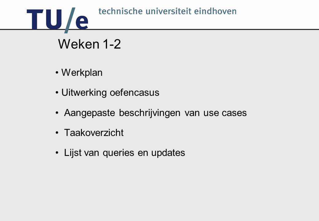 Weken 1-2 Werkplan Uitwerking oefencasus Aangepaste beschrijvingen van use cases Taakoverzicht Lijst van queries en updates