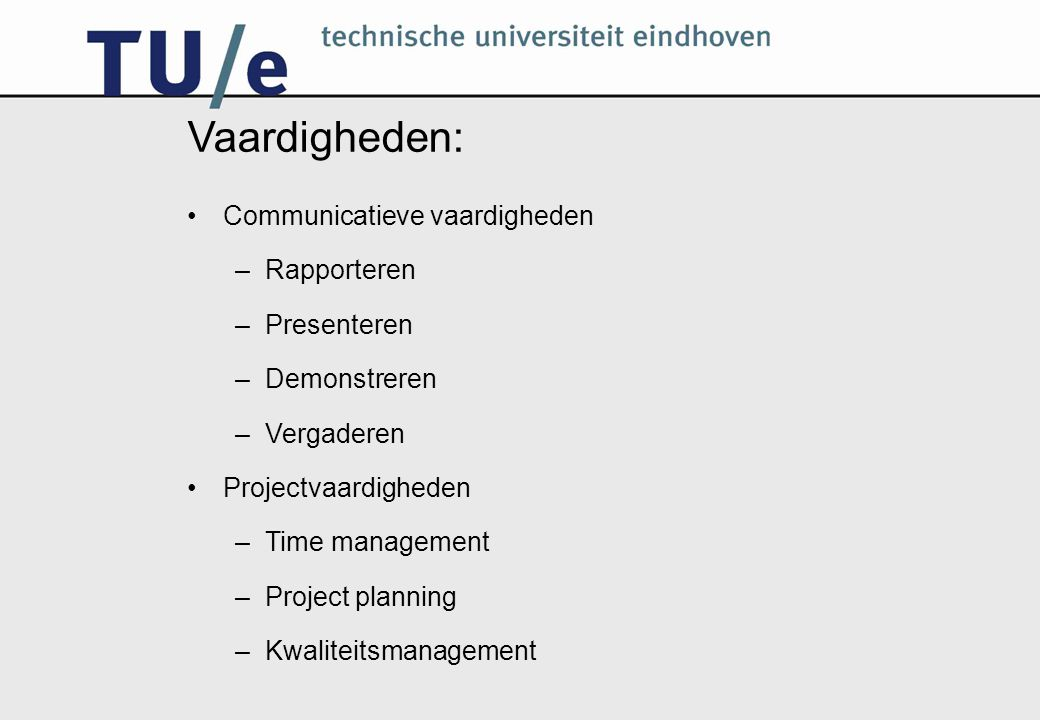 Vaardigheden: Communicatieve vaardigheden –Rapporteren –Presenteren –Demonstreren –Vergaderen Projectvaardigheden –Time management –Project planning –Kwaliteitsmanagement