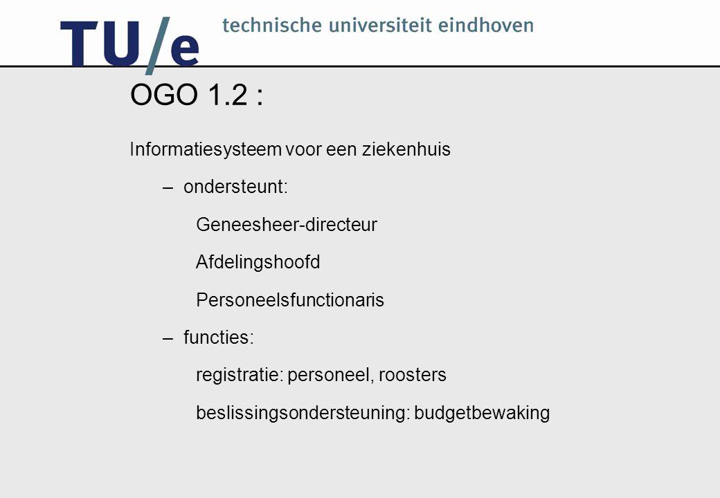 Opzet OGO 1.2 Afstemming met ISO –ISO: theorie plus kleine voorbeelden –OGO: toepassing op groot voorbeeld Project –gestructureerde opdrachten –Zorgvliet Ziekenhuis casus –teamwerk: taak te groot voor 1 persoon –globaal werkplan: zelf taakverdeling uitwerken –veel vrijheid: afspraken maken