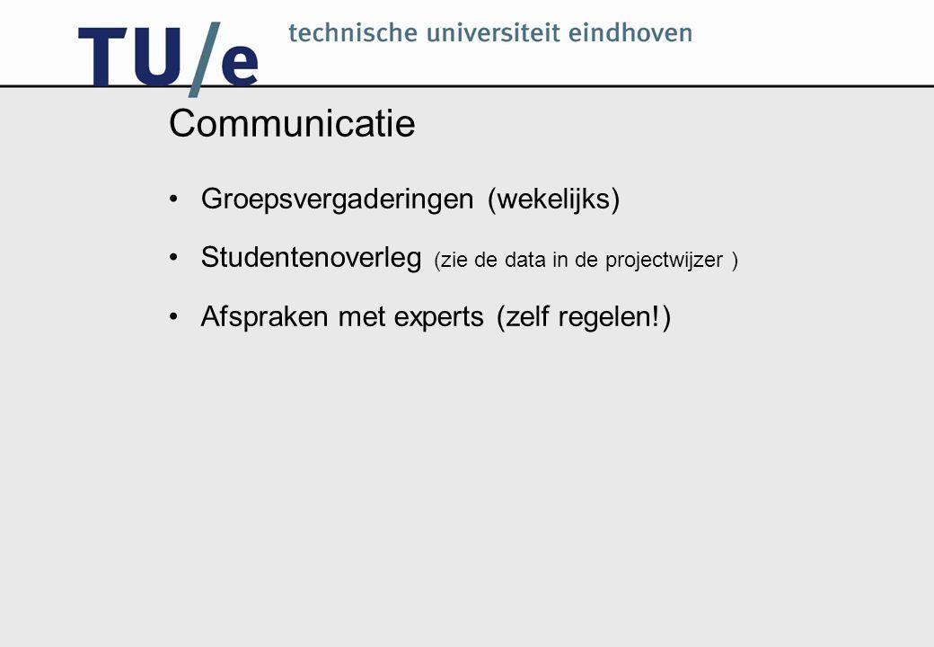 Communicatie Groepsvergaderingen (wekelijks) Studentenoverleg (zie de data in de projectwijzer ) Afspraken met experts (zelf regelen!)