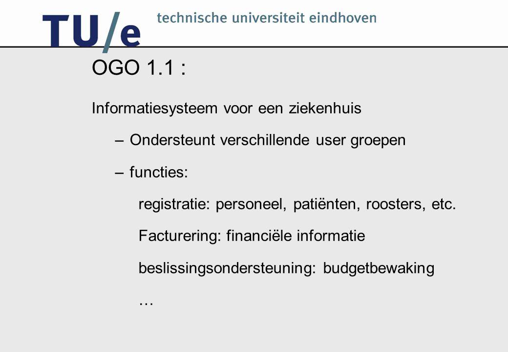 OGO 1.1 : Informatiesysteem voor een ziekenhuis –Ondersteunt verschillende user groepen –functies: registratie: personeel, patiënten, roosters, etc.