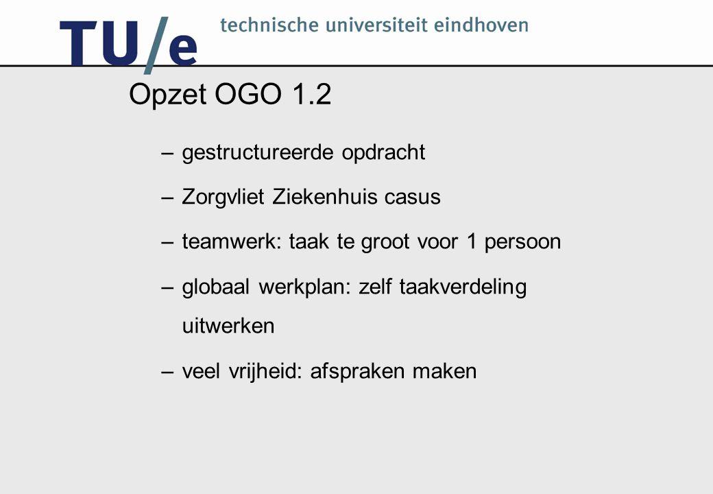 Opzet OGO 1.2 –gestructureerde opdracht –Zorgvliet Ziekenhuis casus –teamwerk: taak te groot voor 1 persoon –globaal werkplan: zelf taakverdeling uitwerken –veel vrijheid: afspraken maken