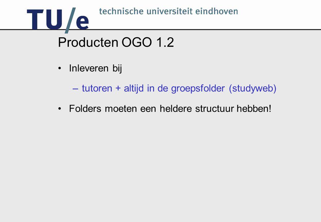 Producten OGO 1.2 Inleveren bij –tutoren + altijd in de groepsfolder (studyweb) Folders moeten een heldere structuur hebben!