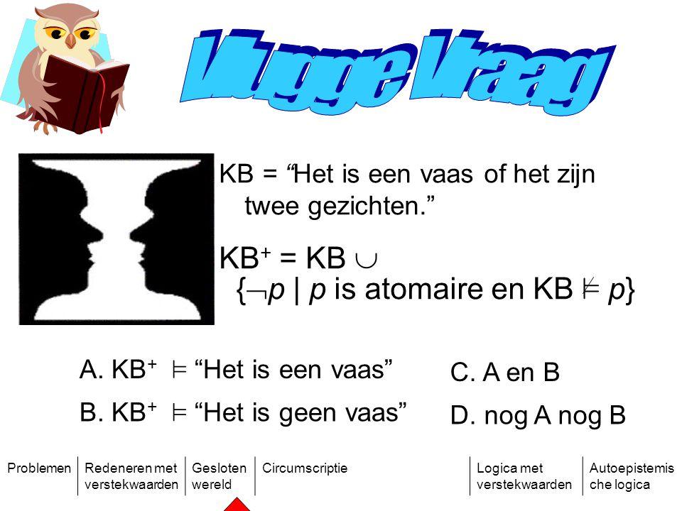 ProblemenRedeneren met verstekwaarden Gesloten wereld CircumscriptieLogica met verstekwaarden Autoepistemis che logica KB = Het is een vaas of het zijn twee gezichten. KB + = KB  {  p | p is atomaire en KB ² p} A.