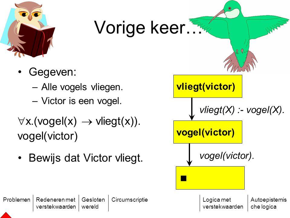 ProblemenRedeneren met verstekwaarden Gesloten wereld CircumscriptieLogica met verstekwaarden Autoepistemis che logica Gegeven: –Alle vogels vliegen.