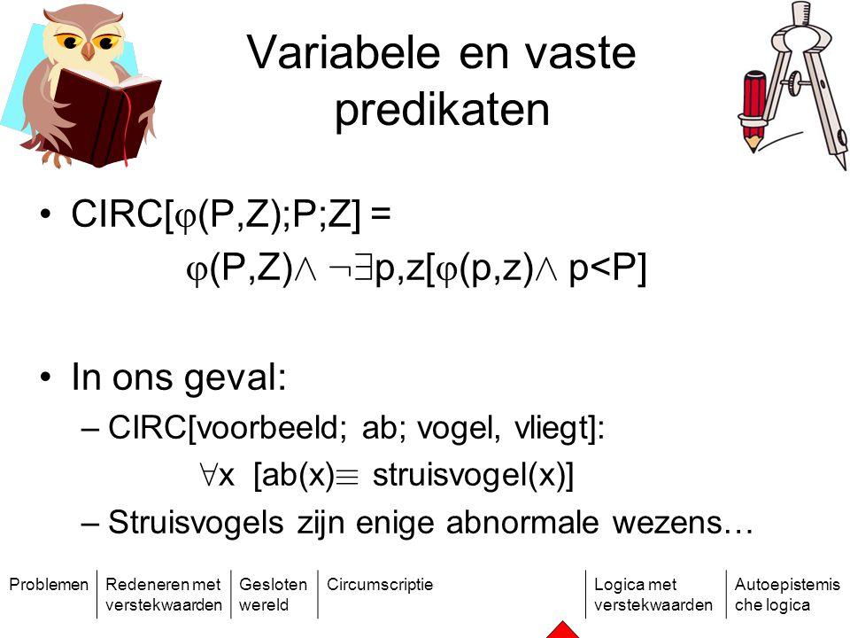 ProblemenRedeneren met verstekwaarden Gesloten wereld CircumscriptieLogica met verstekwaarden Autoepistemis che logica Variabele en vaste predikaten CIRC[  (P,Z);P;Z] =  (P,Z) Æ :9 p,z[  (p,z) Æ p<P] In ons geval: –CIRC[voorbeeld; ab; vogel, vliegt]: 8 x [ab(x) ´ struisvogel(x)] –Struisvogels zijn enige abnormale wezens…