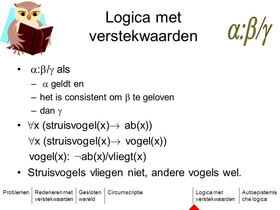 ProblemenRedeneren met verstekwaarden Gesloten wereld CircumscriptieLogica met verstekwaarden Autoepistemis che logica Logica met verstekwaarden  :  /  als –  geldt en –het is consistent om  te geloven –dan  8 x (struisvogel(x) .