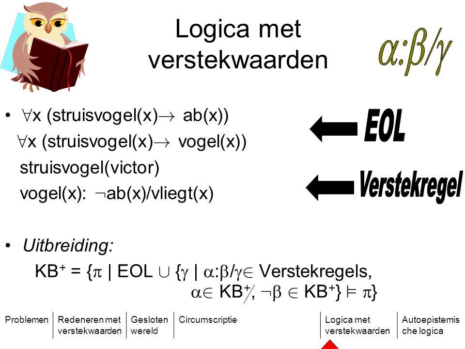 ProblemenRedeneren met verstekwaarden Gesloten wereld CircumscriptieLogica met verstekwaarden Autoepistemis che logica Logica met verstekwaarden 8 x (struisvogel(x) .