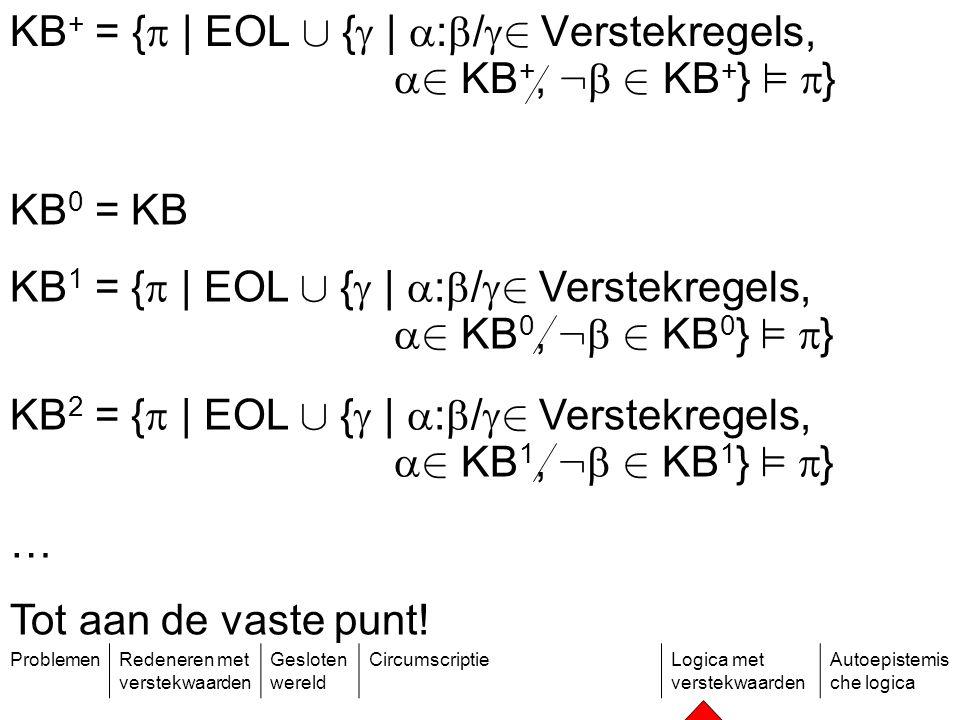 ProblemenRedeneren met verstekwaarden Gesloten wereld CircumscriptieLogica met verstekwaarden Autoepistemis che logica KB + = {  | EOL [ {  |  :  /  2 Verstekregels,  2 KB +, :  2 KB + } ²  } KB 0 = KB KB 1 = {  | EOL [ {  |  :  /  2 Verstekregels,  2 KB 0, :  2 KB 0 } ²  } KB 2 = {  | EOL [ {  |  :  /  2 Verstekregels,  2 KB 1, :  2 KB 1 } ²  } … Tot aan de vaste punt!