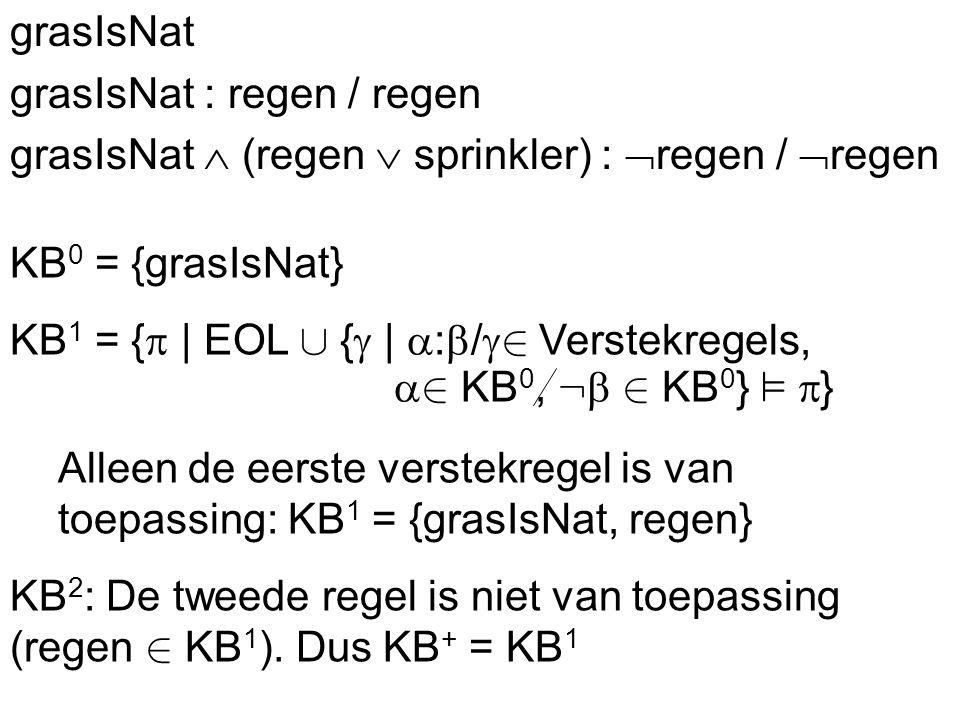 ProblemenRedeneren met verstekwaarden Gesloten wereld CircumscriptieLogica met verstekwaarden Autoepistemis che logica KB + grasIsNat grasIsNat : regen / regen grasIsNat  (regen  sprinkler) :  regen /  regen KB 0 = {grasIsNat} KB 1 = {  | EOL [ {  |  :  /  2 Verstekregels,  2 KB 0, :  2 KB 0 } ²  } Alleen de eerste verstekregel is van toepassing: KB 1 = {grasIsNat, regen} KB 2 : De tweede regel is niet van toepassing (regen 2 KB 1 ).