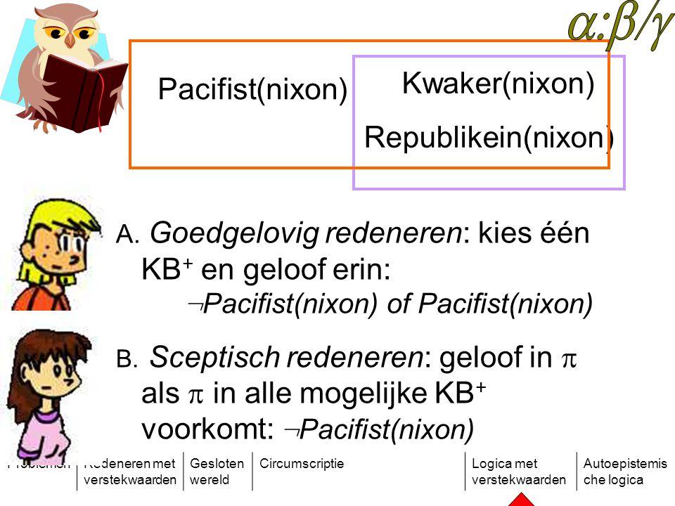 ProblemenRedeneren met verstekwaarden Gesloten wereld CircumscriptieLogica met verstekwaarden Autoepistemis che logica Kwaker(nixon) Republikein(nixon) A.