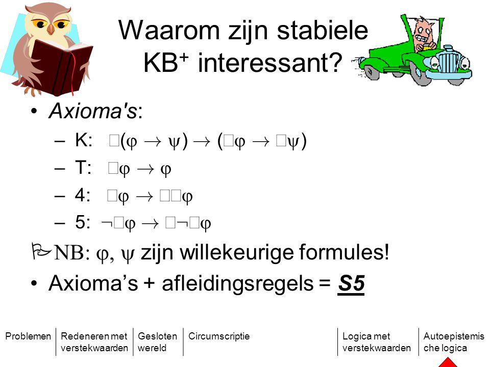 ProblemenRedeneren met verstekwaarden Gesloten wereld CircumscriptieLogica met verstekwaarden Autoepistemis che logica Waarom zijn stabiele KB + interessant.