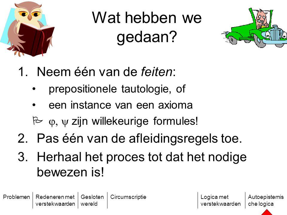 ProblemenRedeneren met verstekwaarden Gesloten wereld CircumscriptieLogica met verstekwaarden Autoepistemis che logica Wat hebben we gedaan.