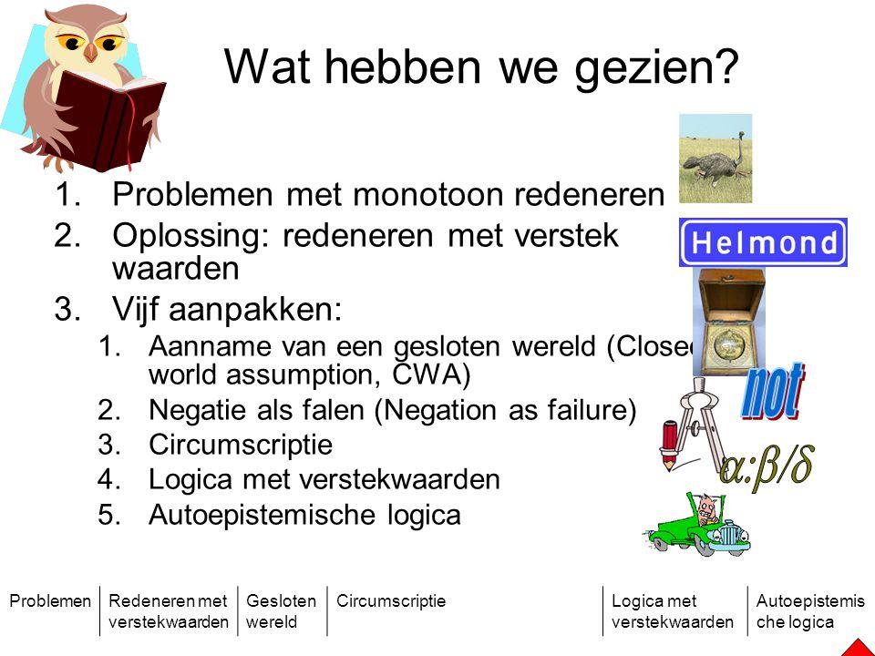 ProblemenRedeneren met verstekwaarden Gesloten wereld CircumscriptieLogica met verstekwaarden Autoepistemis che logica Wat hebben we gezien.