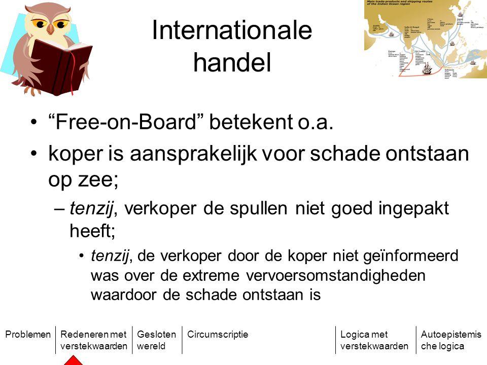 ProblemenRedeneren met verstekwaarden Gesloten wereld CircumscriptieLogica met verstekwaarden Autoepistemis che logica Internationale handel Free-on-Board betekent o.a.