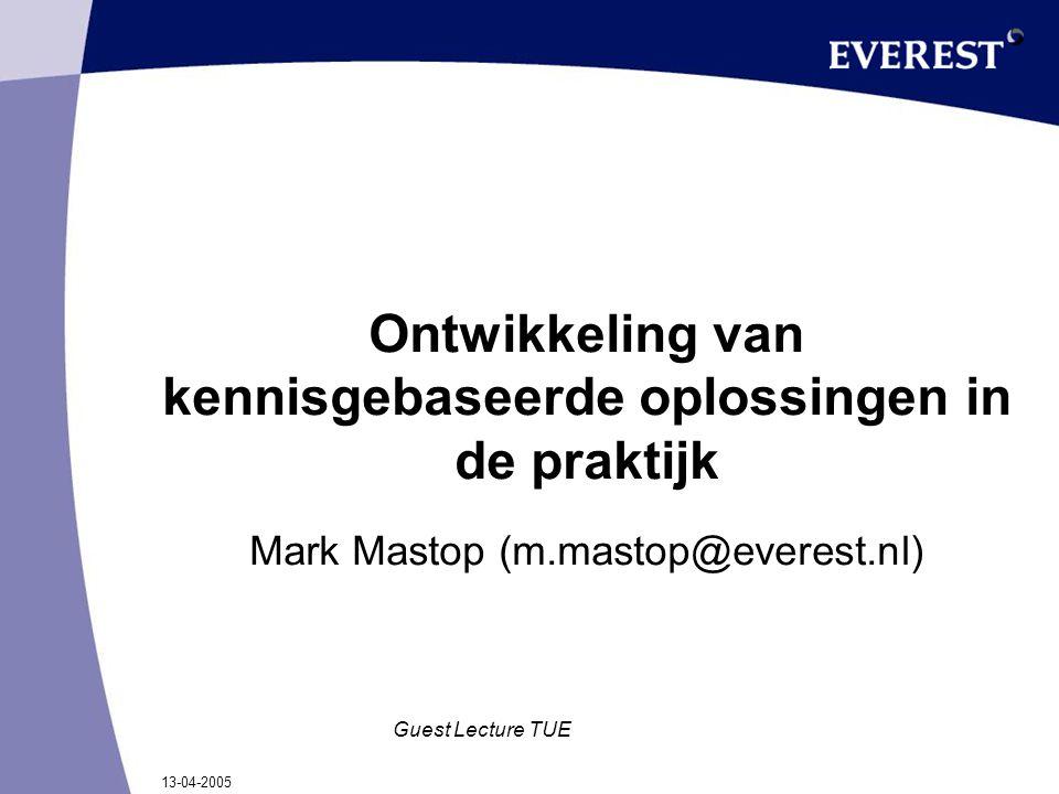 13-04-2005 Guest Lecture TUE Ontwikkeling van kennisgebaseerde oplossingen in de praktijk Mark Mastop (m.mastop@everest.nl)