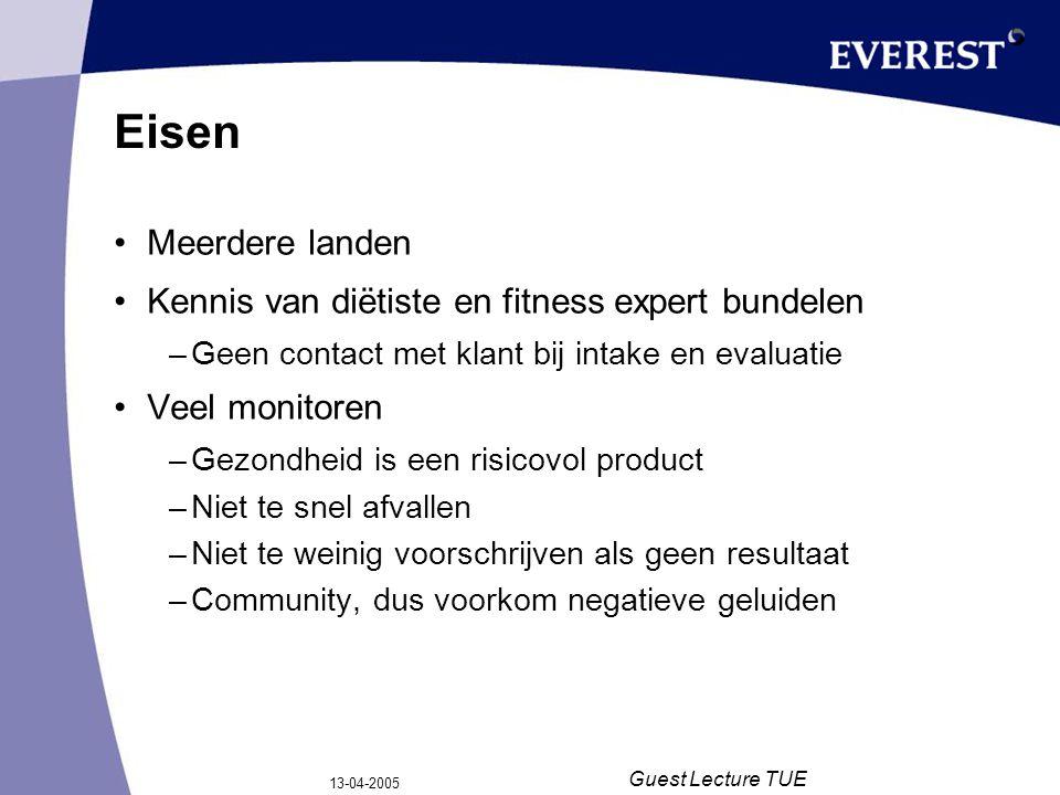 13-04-2005 Guest Lecture TUE Eisen Meerdere landen Kennis van diëtiste en fitness expert bundelen –Geen contact met klant bij intake en evaluatie Veel