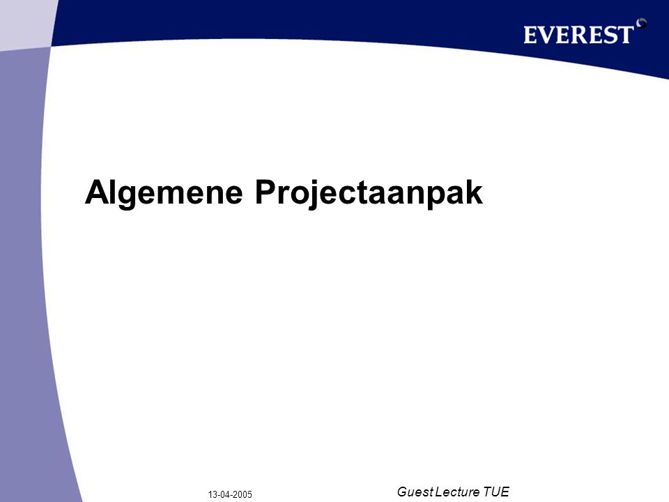 13-04-2005 Guest Lecture TUE Samenvatting KT Oplossing op basis van: –Matching –Full-Text searching Technologie –Everest Knowledge Framework