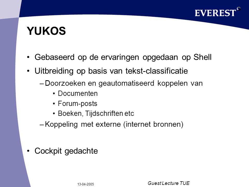 13-04-2005 Guest Lecture TUE YUKOS Gebaseerd op de ervaringen opgedaan op Shell Uitbreiding op basis van tekst-classificatie –Doorzoeken en geautomati