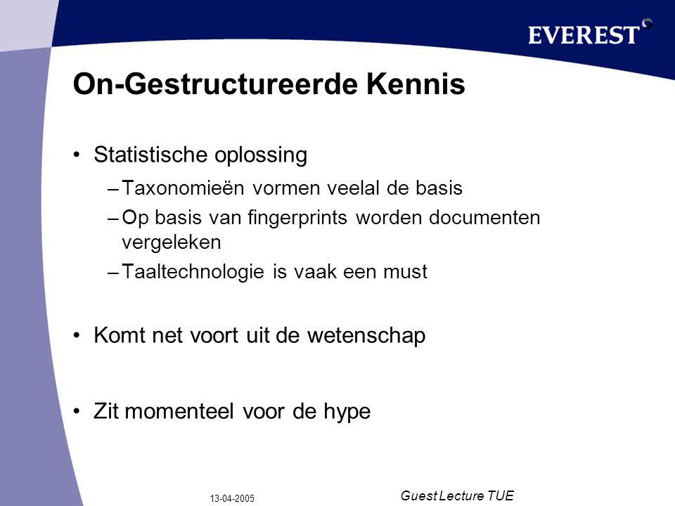 13-04-2005 Guest Lecture TUE On-Gestructureerde Kennis Statistische oplossing –Taxonomieën vormen veelal de basis –Op basis van fingerprints worden do