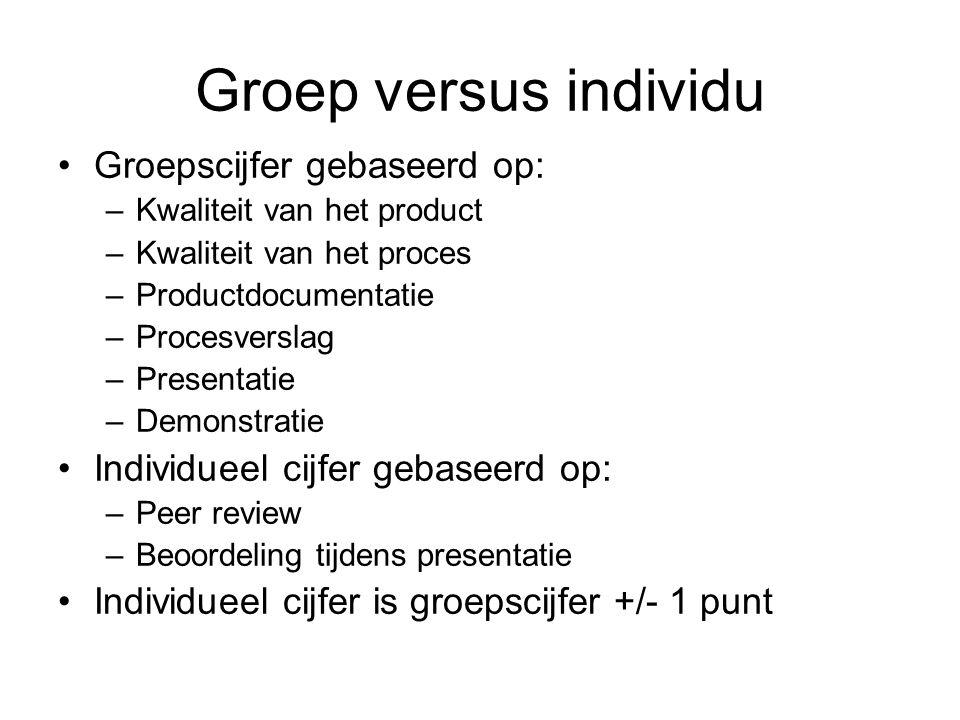 Groep versus individu Groepscijfer gebaseerd op: –Kwaliteit van het product –Kwaliteit van het proces –Productdocumentatie –Procesverslag –Presentatie