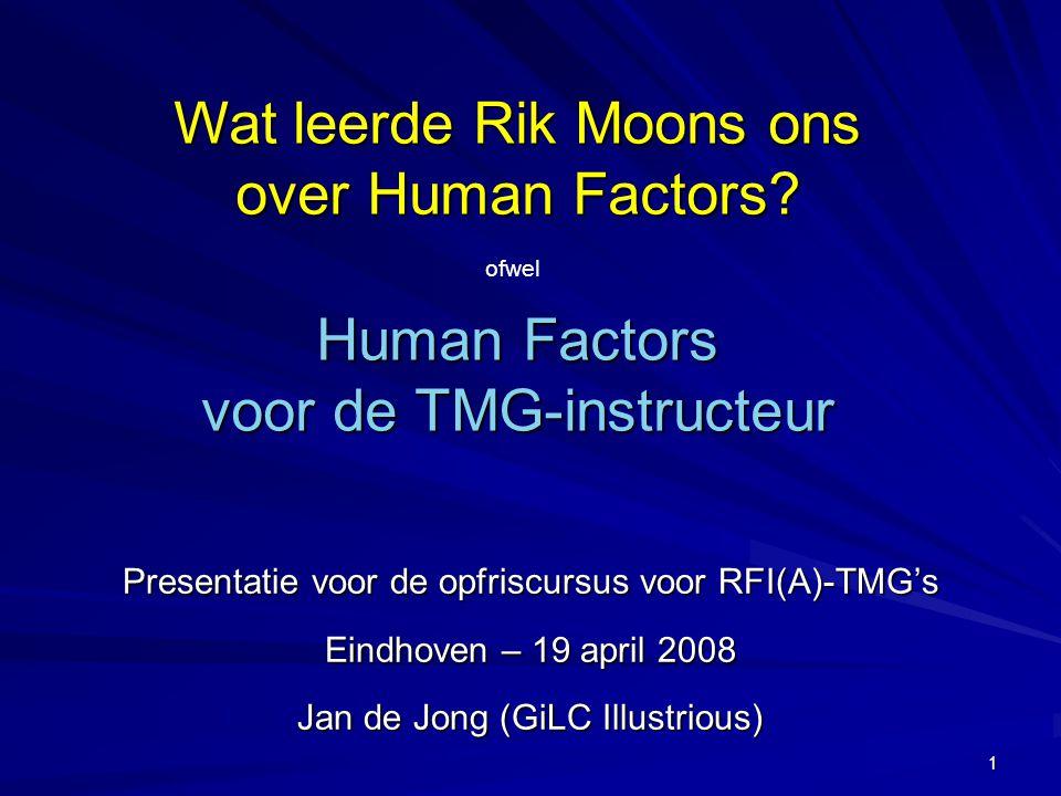 1 Human Factors voor de TMG-instructeur Presentatie voor de opfriscursus voor RFI(A)-TMG's Eindhoven – 19 april 2008 Jan de Jong (GiLC Illustrious) Wa
