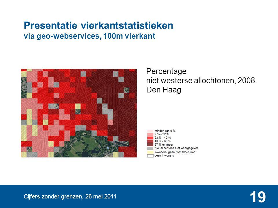 Cijfers zonder grenzen, 26 mei 2011 19 Presentatie vierkantstatistieken via geo-webservices, 100m vierkant Percentage niet westerse allochtonen, 2008.