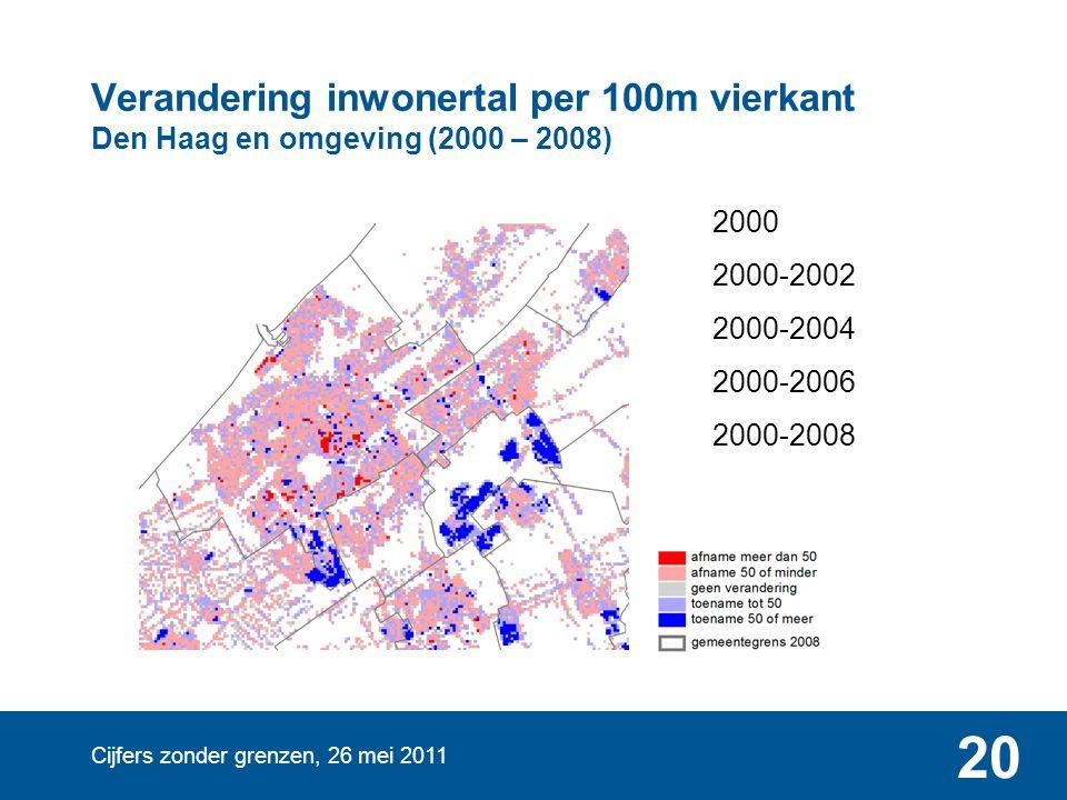 Cijfers zonder grenzen, 26 mei 2011 20 Verandering inwonertal per 100m vierkant Den Haag en omgeving (2000 – 2008) 2000 2000-2002 2000-2004 2000-2006