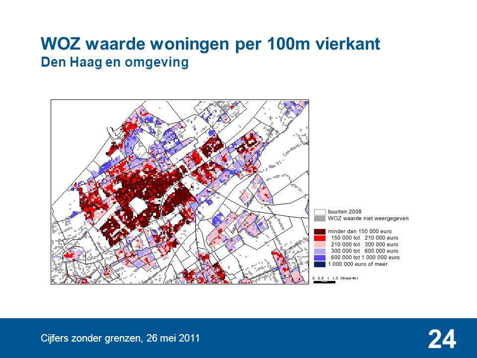 Cijfers zonder grenzen, 26 mei 2011 24 WOZ waarde woningen per 100m vierkant Den Haag en omgeving