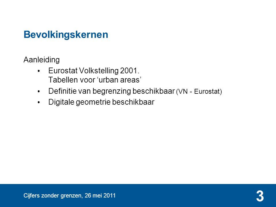 Cijfers zonder grenzen, 26 mei 2011 3 Bevolkingskernen Aanleiding Eurostat Volkstelling 2001. Tabellen voor 'urban areas' Definitie van begrenzing bes