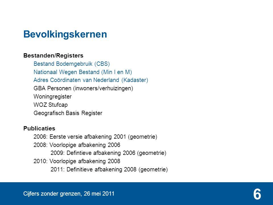 Cijfers zonder grenzen, 26 mei 2011 6 Bevolkingskernen Bestanden/Registers Bestand Bodemgebruik (CBS) Nationaal Wegen Bestand (Min I en M) Adres Coörd