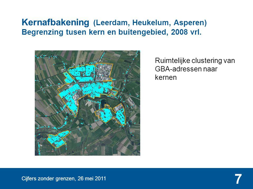 Cijfers zonder grenzen, 26 mei 2011 7 Kernafbakening (Leerdam, Heukelum, Asperen) Begrenzing tusen kern en buitengebied, 2008 vrl. Ruimtelijke cluster