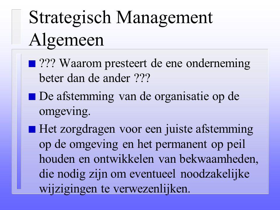 Strategie n Wat moet de strategie duidelijk communiceren: – Wat de richting is van de totale organisatie (eenduidigheid) – Waaraan concrete doelstelli