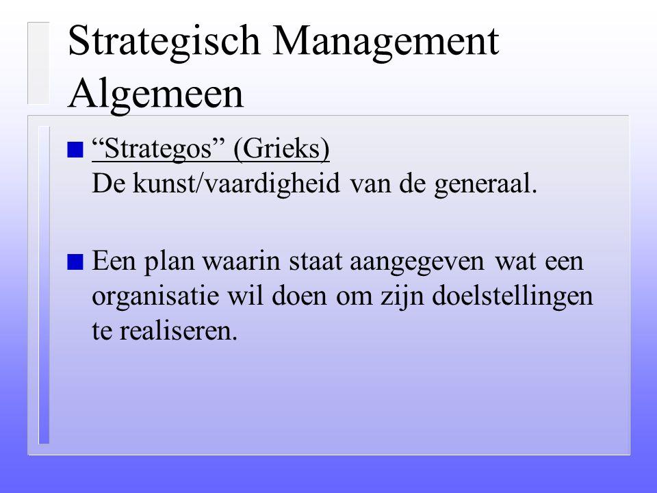 Strategisch Management Algemeen n ??? Waarom presteert de ene onderneming beter dan de ander ??? n De afstemming van de organisatie op de omgeving. n