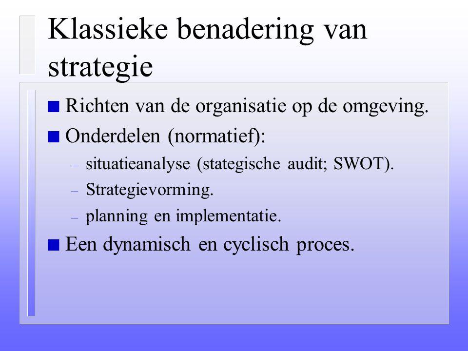 """2 Benaderingen van Strategie n De zogenaamde """"klassieke"""" benadering (van Porter en Ansoff) – de geplande strategie n De nieuwe/moderne benadering (van"""