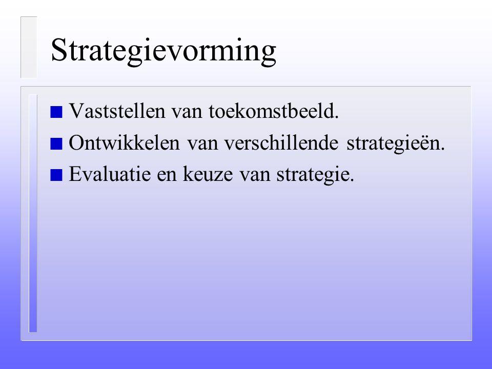 Klassieke benadering (vervolg) n SWOT – Een definitie van de huidige doelen en strategie (7-S-model). – Een interne analyse (sterk en zwak). – Een ext