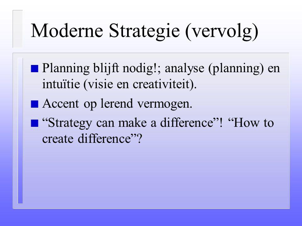 Moderne Strategie (vervolg) n Darwinistisch-evolutionaire benadering (versus een bijbels scheppingsplan). n Integratie van denken en doen (integratie