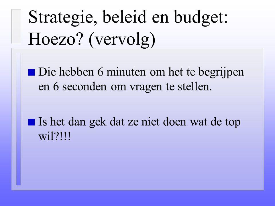 Strategie, beleid en budget: Hoezo? n Directies denken 6 maanden na over strategie. n Ze nemen 6 weken om het op papier te zetten. n In 6 dagen overtu