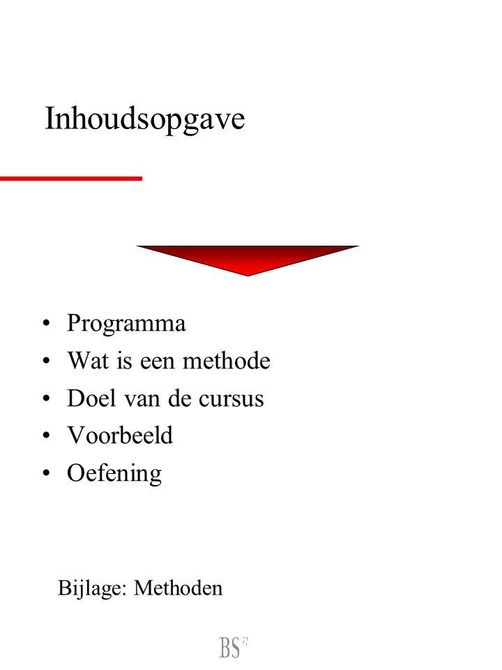 Inhoudsopgave Programma Wat is een methode Doel van de cursus Voorbeeld Oefening Bijlage: Methoden