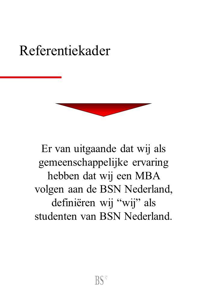 Referentiekader Er van uitgaande dat wij als gemeenschappelijke ervaring hebben dat wij een MBA volgen aan de BSN Nederland, definiëren wij wij als studenten van BSN Nederland.