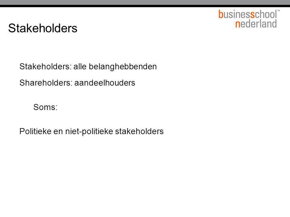 Stakeholders Stakeholders: alle belanghebbenden Shareholders: aandeelhouders Soms: Politieke en niet-politieke stakeholders