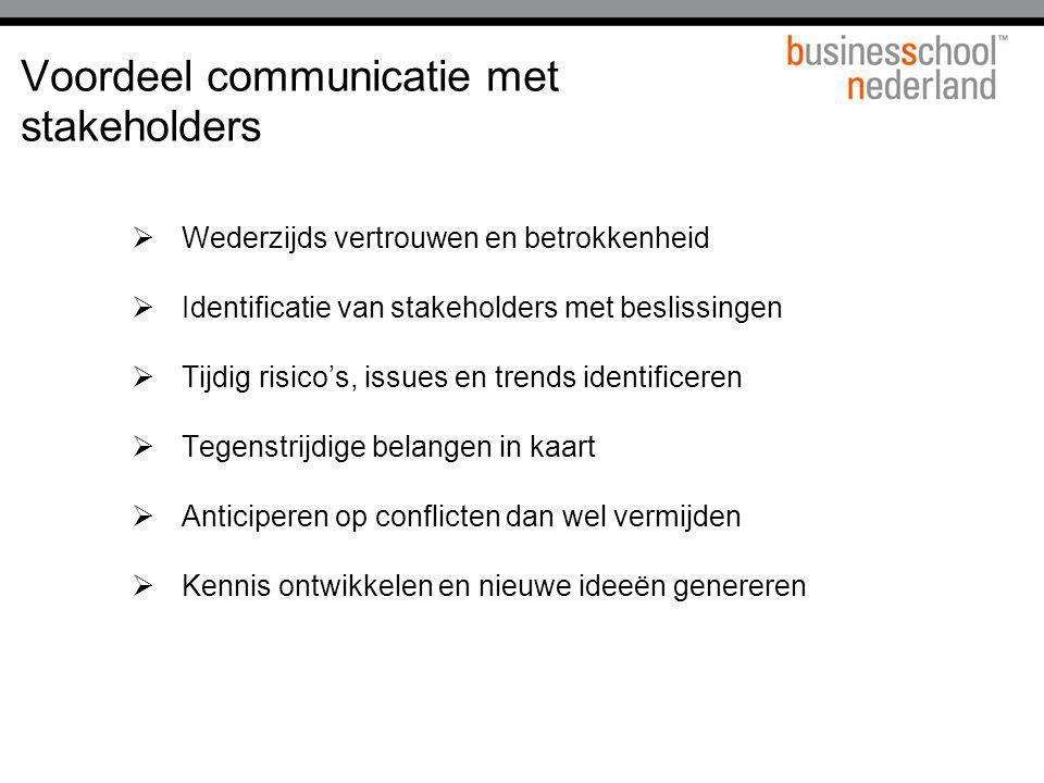 Voordeel communicatie met stakeholders  Wederzijds vertrouwen en betrokkenheid  Identificatie van stakeholders met beslissingen  Tijdig risico's, i