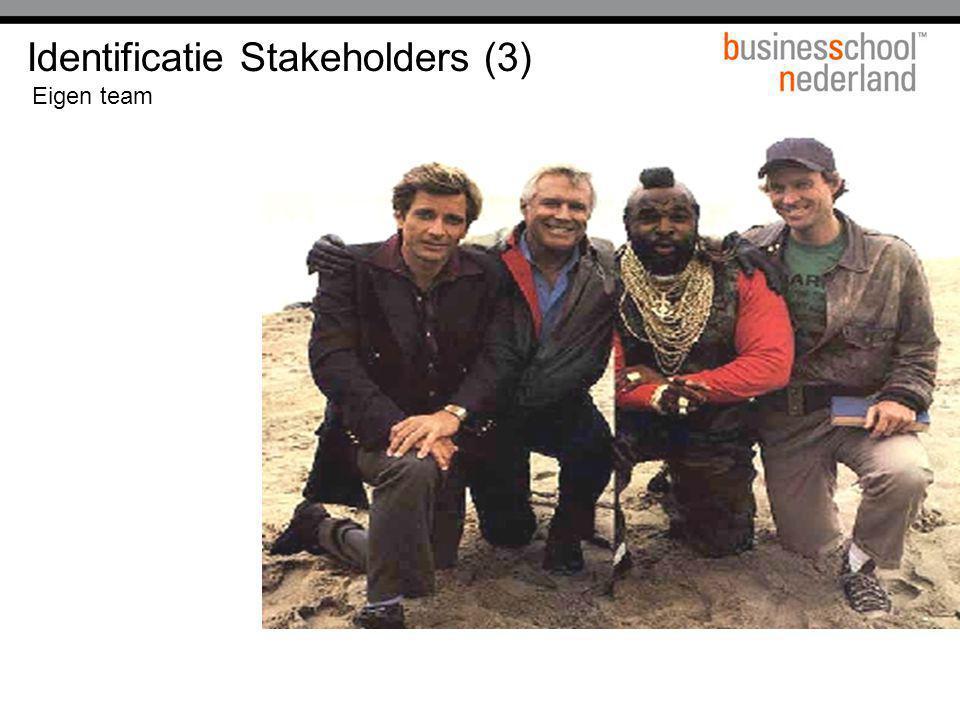 Identificatie Stakeholders (3) Eigen team