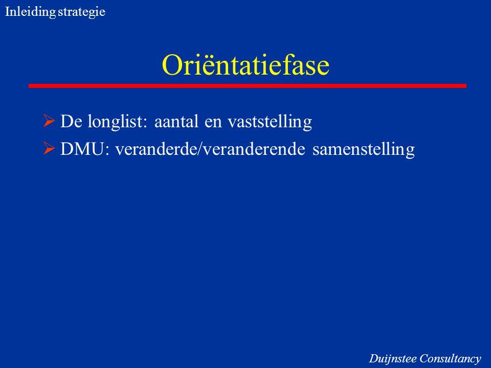 Oriëntatiefase  De longlist: aantal en vaststelling  DMU: veranderde/veranderende samenstelling Inleiding strategie Duijnstee Consultancy