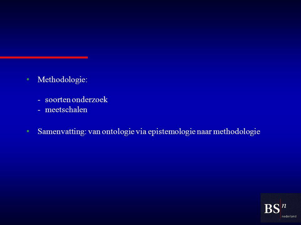 Methodologie: -soorten onderzoek -meetschalen Samenvatting: van ontologie via epistemologie naar methodologie