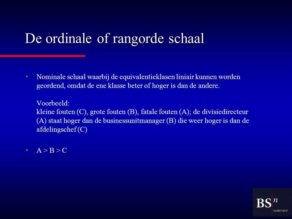 De ordinale of rangorde schaal Nominale schaal waarbij de equivalentieklasen liniair kunnen worden geordend, omdat de ene klasse beter of hoger is dan de andere.