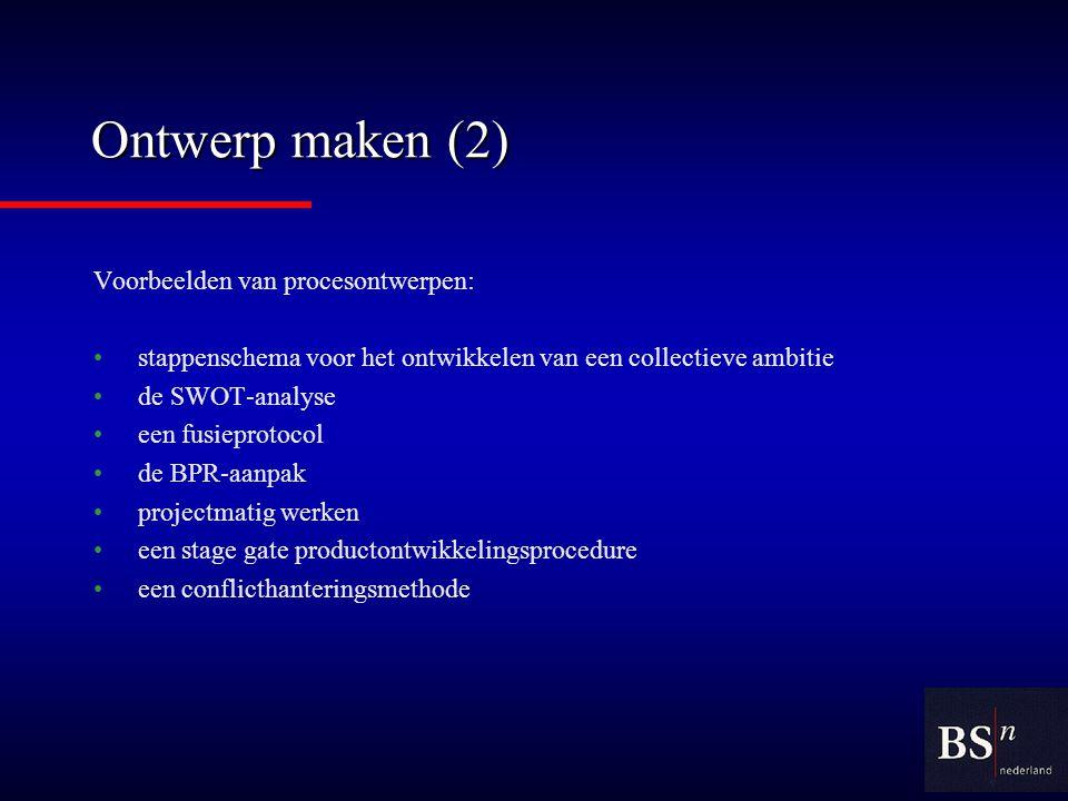 Ontwerp maken (2) Voorbeelden van procesontwerpen: stappenschema voor het ontwikkelen van een collectieve ambitie de SWOT-analyse een fusieprotocol de BPR-aanpak projectmatig werken een stage gate productontwikkelingsprocedure een conflicthanteringsmethode