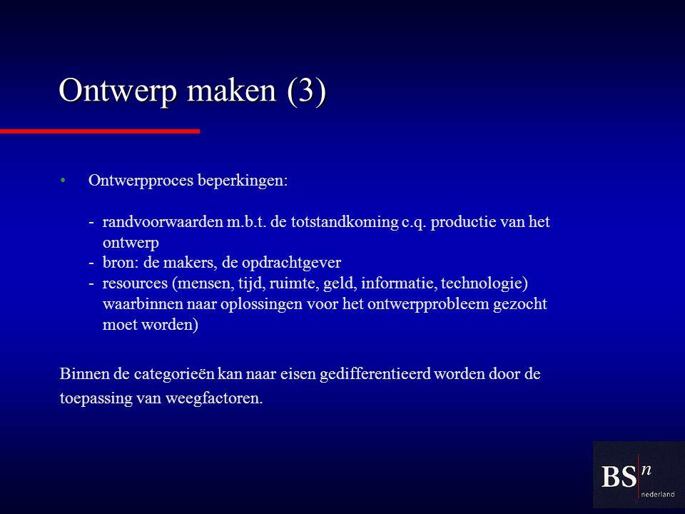 Ontwerp maken (3) Ontwerpproces beperkingen: -randvoorwaarden m.b.t.