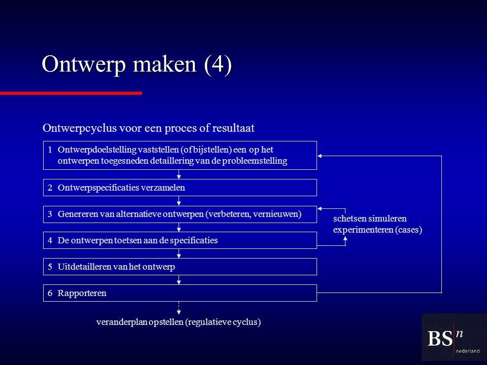 Ontwerp maken (4) Ontwerpcyclus voor een proces of resultaat schetsen simuleren experimenteren (cases) 1Ontwerpdoelstelling vaststellen (of bijstellen) een op het ontwerpen toegesneden detaillering van de probleemstelling 2Ontwerpspecificaties verzamelen 3Genereren van alternatieve ontwerpen (verbeteren, vernieuwen) 4De ontwerpen toetsen aan de specificaties 5Uitdetailleren van het ontwerp 6Rapporteren veranderplan opstellen (regulatieve cyclus)